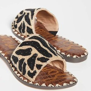 Sam Edelman Beaded Slides Sz. 7 Black Brown Casual